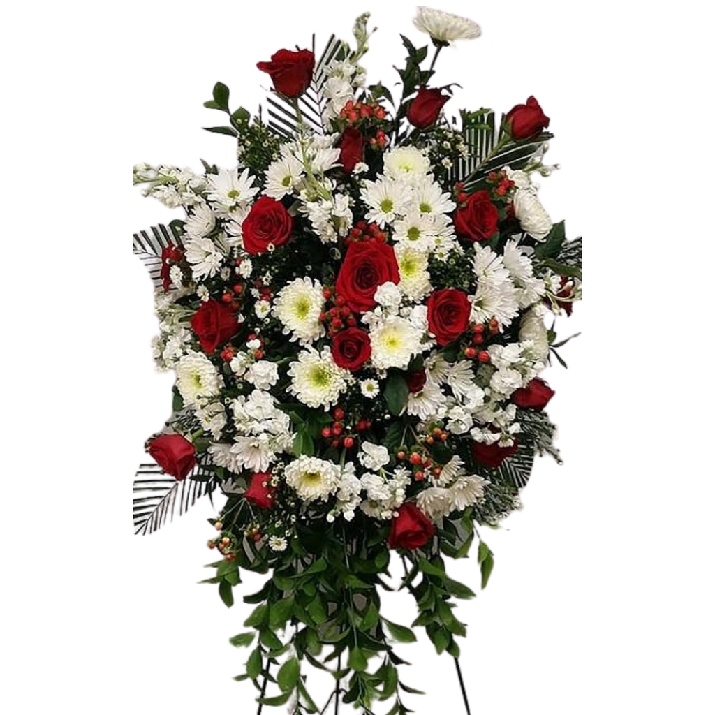 Flower Delivery Florist Funeral Sympathy Naples Red And White Standing Spray