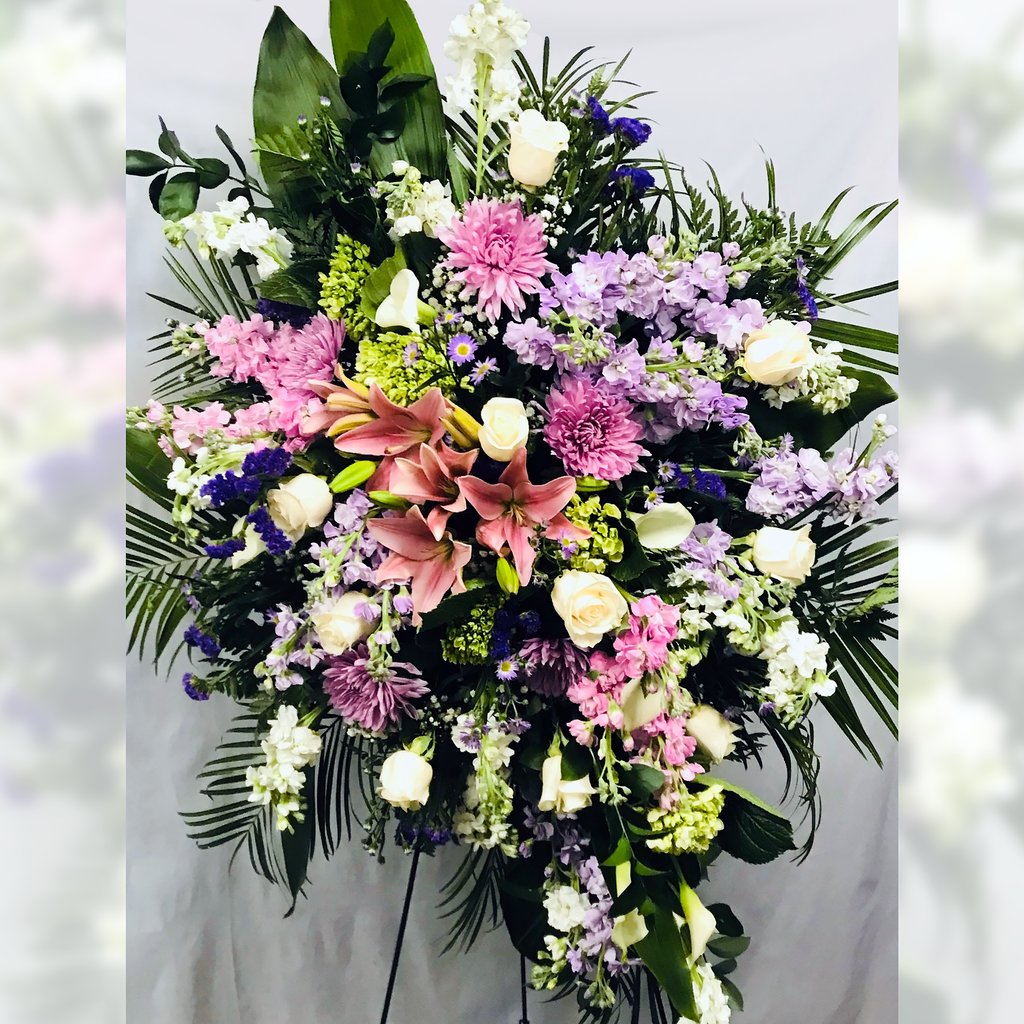 Flower Delivery Florist Funeral Sympathy Naples Springtime Blossoms Standing Spray