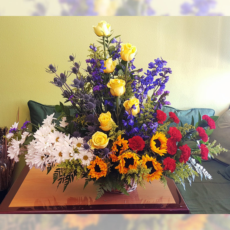Flower Delivery Florist Funeral Sympathy Naples Summer Wildflower Basket Deluxe
