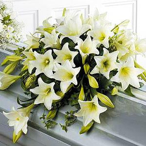 Flower Delivery Florist Funeral Sympathy Naples Trinity Lily Casket Spray