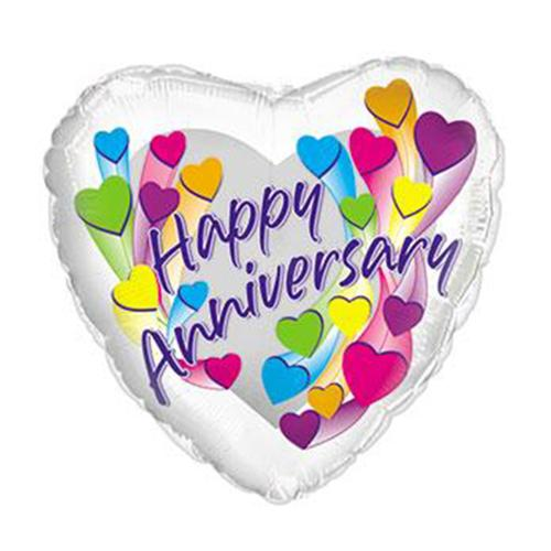Flower Delivery Florist Same Day Naples 16 Happy Anniversary Colorful Hearts Balloon.Jpg