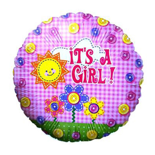 # 47 It's A Girl Pink Plaid Button Balloon