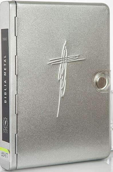 Biblia metal cruz plata - NTV - Coffee & Jesus