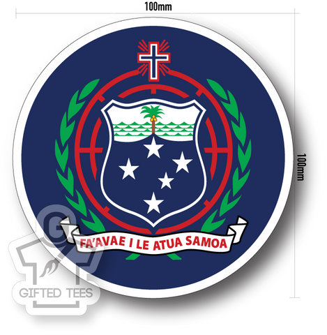 Sticker - Samoa Coat of Arms (Blue) [Full Colour Print]