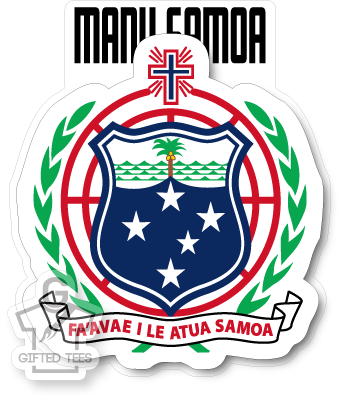 Sticker - Samoa Coat of Arms (White) [Full Colour Print]