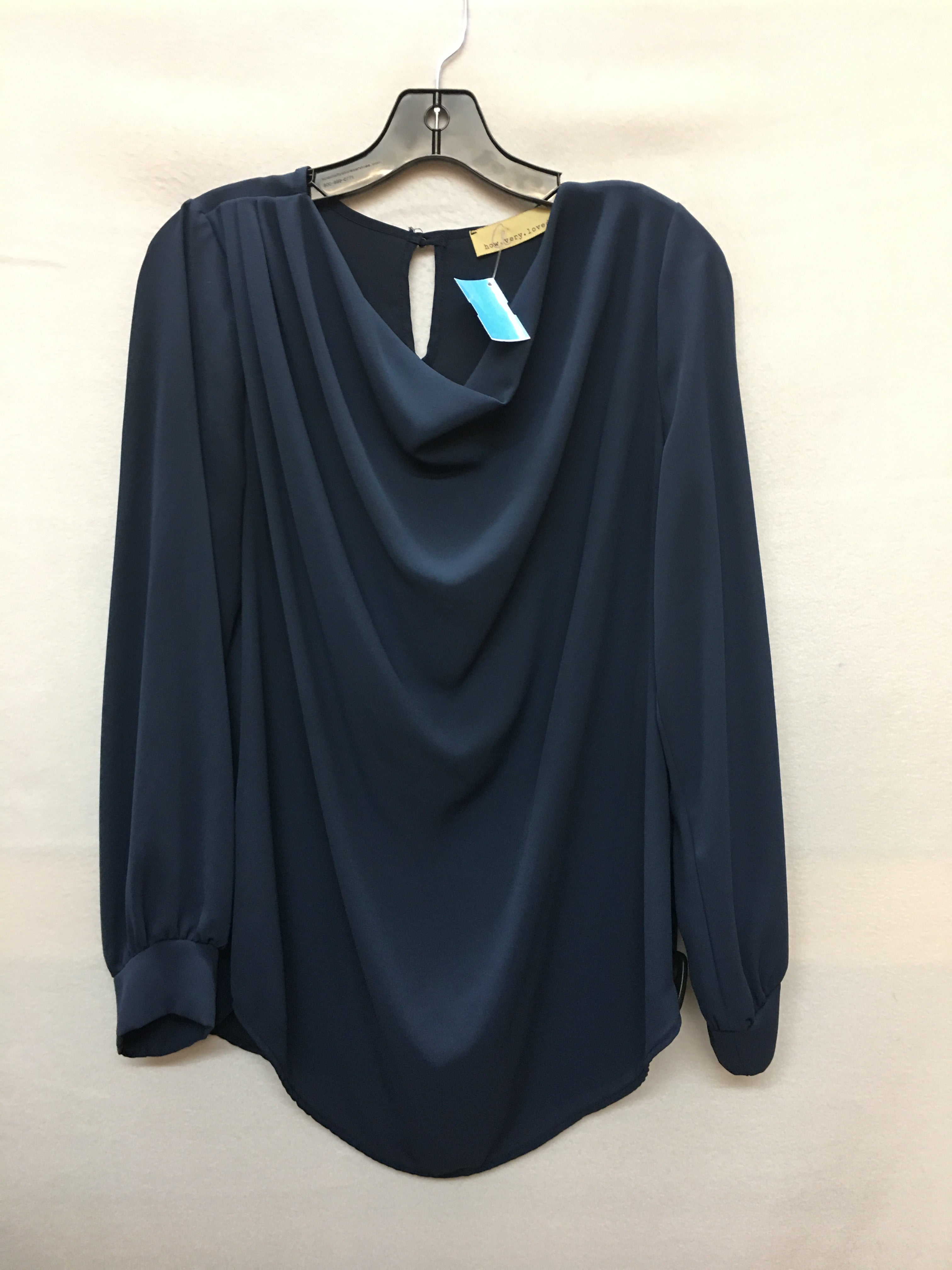 Primary Photo - BRAND:    CLOTHES MENTOR <BR>STYLE: TOP LONG SLEEVE <BR>COLOR: NAVY <BR>SIZE: L <BR>OTHER INFO: HOW.VERY.LOVED - <BR>SKU: 240-24071-3982