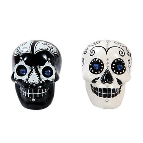 Day of the Dead Salt & Pepper Shaker Black and White - Highway Thirty One