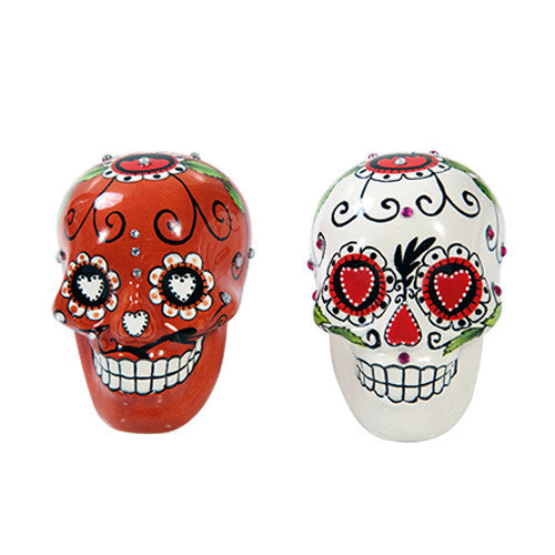 Day of the Dead Salt & Pepper Shaker Red and White - Highway Thirty One