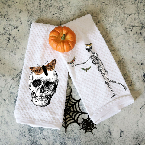 Set of Two Vintage Halloween Skeleton and Butterfly Towels