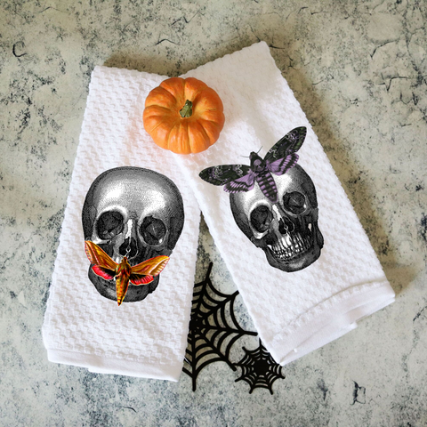 Set of Two Vintage Butterfly Skull Towels