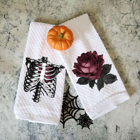 Set of Two Towels Rib Cage and Vintage Rose