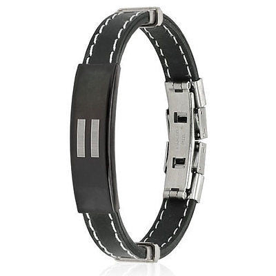 Stainless Steel Equal Sign ID Plate Stitch Accent Rubber Bracelet - Highway Thirty One