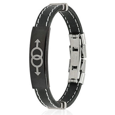 Stainless Steel Double Male Symbol ID Plate Stitch Accent Rubber Bracelet - Highway Thirty One
