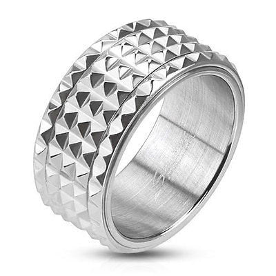 Stainless Steel Spiked Spinner Ring - Spinning Center - Highway Thirty One