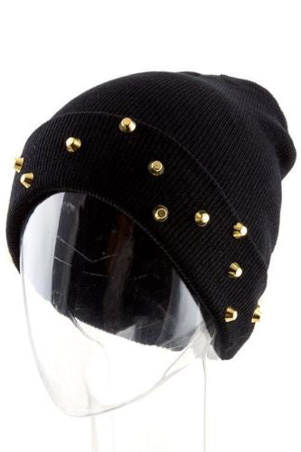 Black Beanie with Gold Studs - Highway Thirty One
