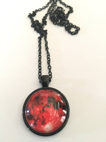 "Blood Red Moon 1"" Pendant with Black Chain - Highway Thirty One"