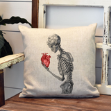 Vintage Skeleton Heart Pillow Cover