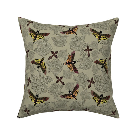 Moth and Skull Pillow cover 16 x 16""