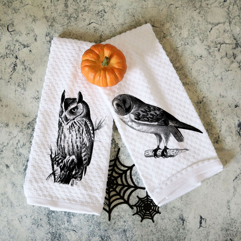 Set of Two Vintage Halloween Owl Towels