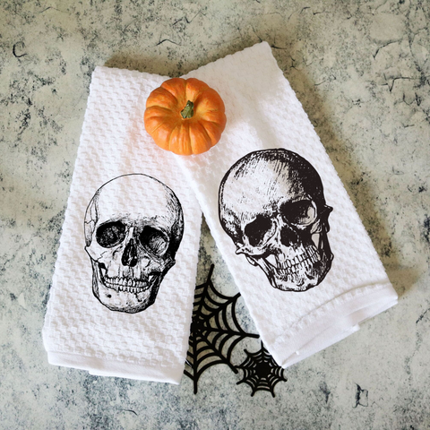 Set of Two Vintage Skull Towels