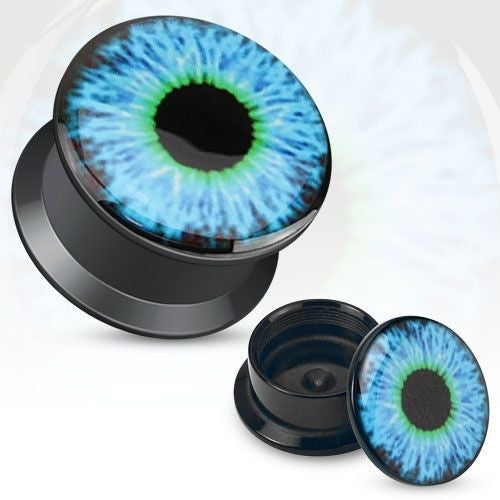 Blue Eyeball Print Black Acrylic Flat Screw Fit Plug Pair - Highway Thirty One