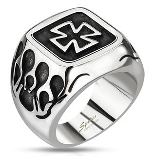 316L Stainless Steel Celtic Cross Ring with Flames - Highway Thirty One