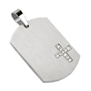 "Cross with Multi CZ's 316L Stainless Steel Pendant Dog Tag with 21"" Ball Chain - Highway Thirty One"