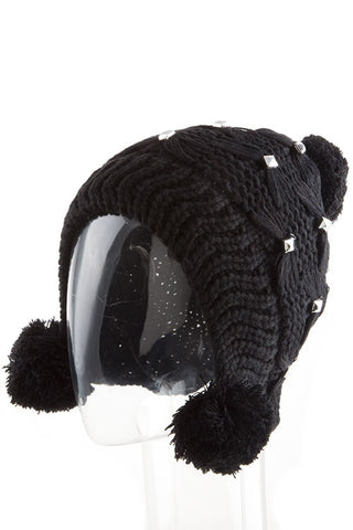 Knitted Hat with Metal Studs and a Pom Pom - Highway Thirty One - 1
