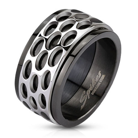 316L Stainless Steel Oval Pattern Spinner Ring - Highway Thirty One