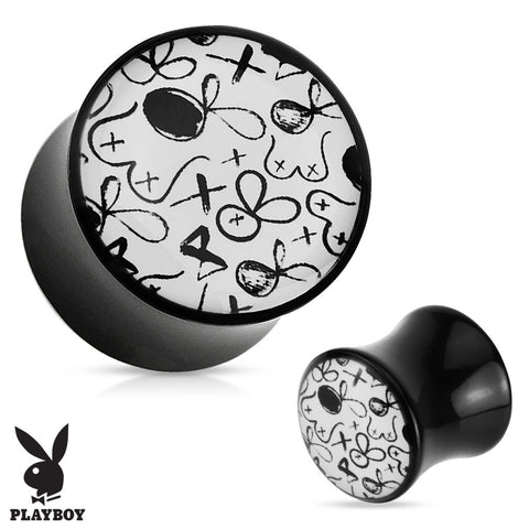 Playboy Exclusive Pattern Black Acrylic Plug Pair - Highway Thirty One