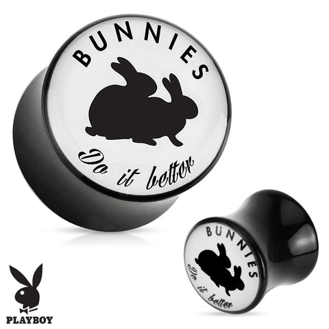 "Playboy Exclusive Pattern Black Acrylic Plug Pair ""Bunnies Do It Better"" - Highway Thirty One"