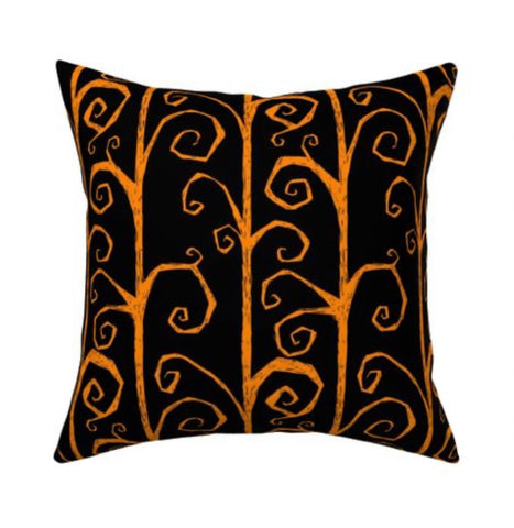 Tim Burton Orange Vine Pillow cover 16 x 16""