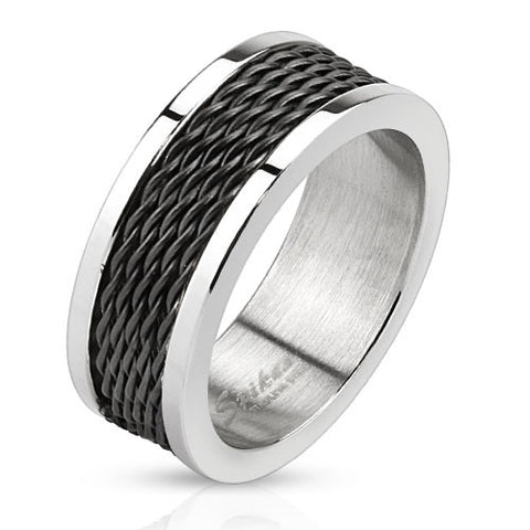 Multi Wire Inlay Black IP Stainless Steel Band Ring - Highway Thirty One