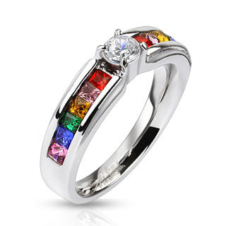 Stainless Steel Clear Center Gem and Rainbow CZ's Engagement Band Ring - Highway Thirty One