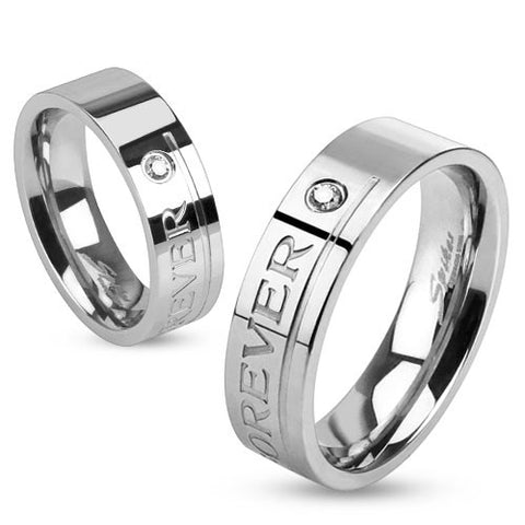 "Stainless Steel ""Love you Forever"" Engraved Band Ring with Single CZ - Highway Thirty One"