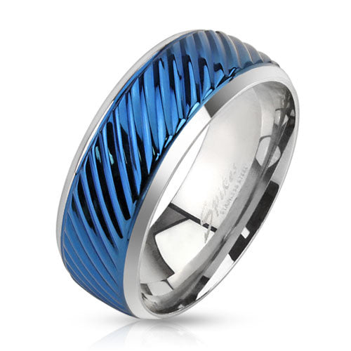 Diagonal Groove Blue IP Lined Center Stainless Steel Band Ring - Highway Thirty One