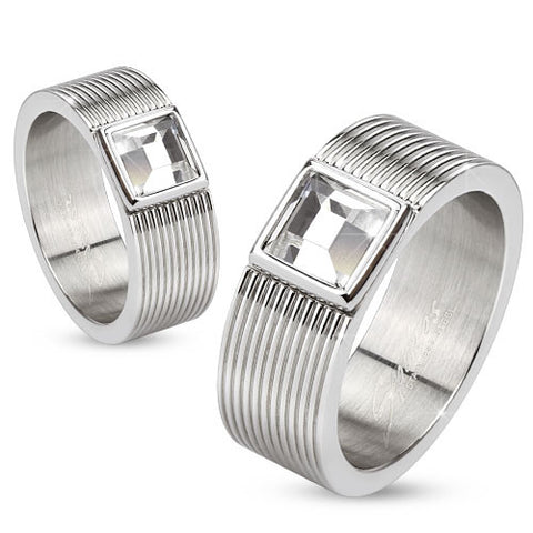 Multi Lined 316L S. Steel Rings with Bezel set Square CZ center - Highway Thirty One