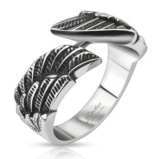 Stainless Steel Angel Wings Cast Band Ring - Highway Thirty One