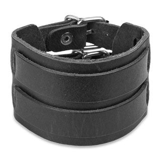 Black Leather Bracelet with Double Strap Belt Buckle - Highway Thirty One
