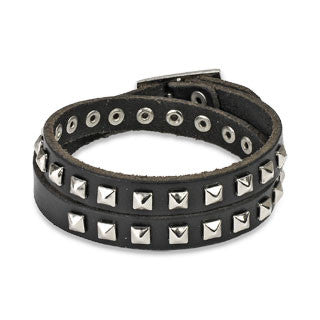 Black Leather Double Wrap Bracelet with Pyramid Studs - Highway Thirty One