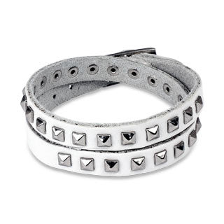White Double Wrap Leather Bracelet with Pyramid Studs - Highway Thirty One