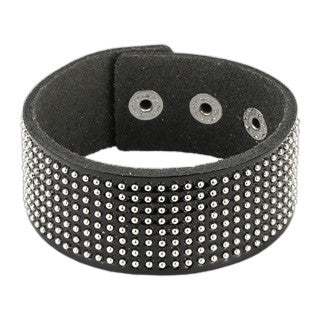 Glossy Black Leather Bracelet with Round Studs - Highway Thirty One
