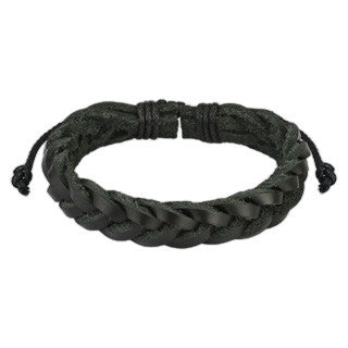 Braided Black Leather Bracelet - Highway Thirty One