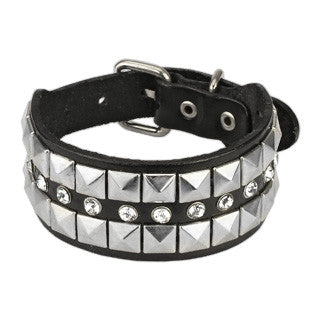 Black Leather Bracelet with Multi Row Pyramid and CZ Studs - Highway Thirty One