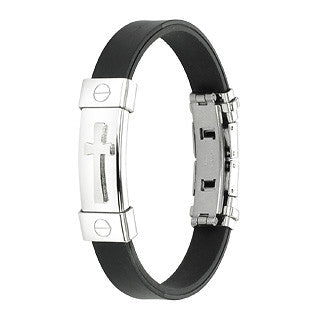 316L Stainless Steel Cross ID Plate Rubber Bracelet - Highway Thirty One