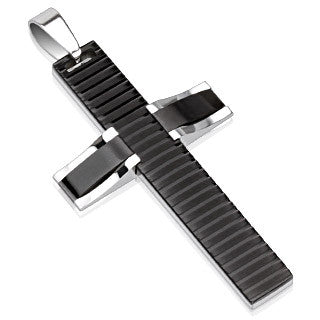 "Beveled Two Tone Black 316L Stainless Steel Cross Pendant with a 21"" Ball Chain - Highway Thirty One"