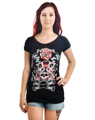 Two Headed Sugar Skull Boat Neck Tee - Highway Thirty One