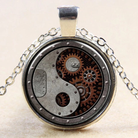 Steampunk Glass Pendant Necklace - Highway Thirty One
