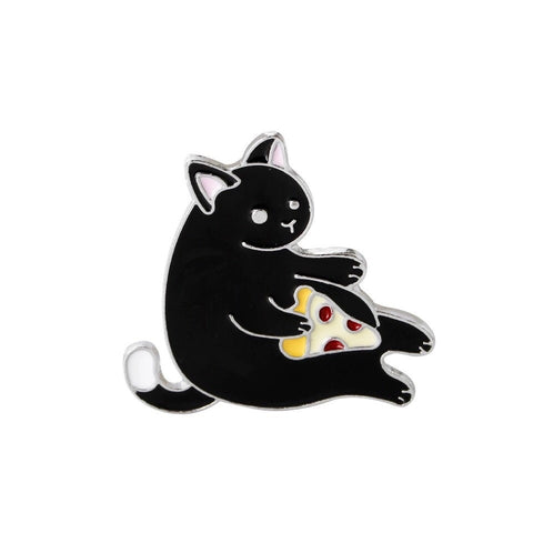 Enamel Cat and Pizza Pin