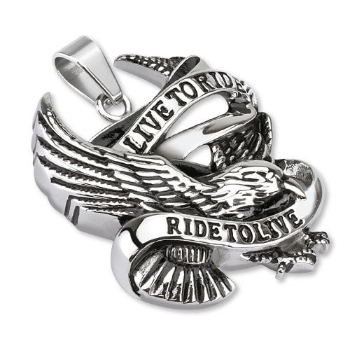 "Stainless Steel Eagle Pendant ""Live to Ride Ride to Live"" - Highway Thirty One"